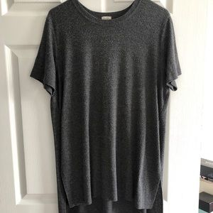long line high low ribbed t shirt